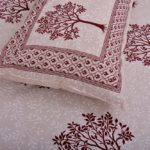 Dark Red Multi Tree Print Super Fine Cotton Double Bed Sheet with 2 Pillow Cover Set