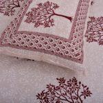 Dark Red Multi Tree Print Super Fine Cotton Double Bed Sheet Closeup