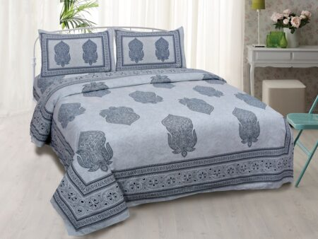 Erika Light Blue Hand Block Print Super Fine Cotton Double Bed Sheet