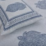 Erika Light Blue Hand Block Print Super Fine Cotton Double Bed Sheet Close up