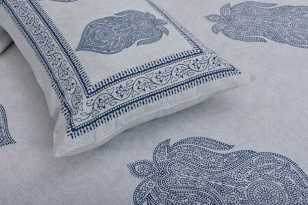 Erika Light Blue Hand Block Print Super Fine Cotton Double Bed Sheet Close up
