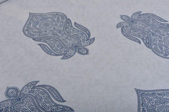 Erika Light Blue Hand Block Print Super Fine Cotton Double Bed Sheet Closeup