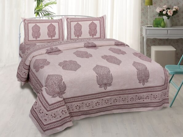 Erika Light Pink Hand Block Print Super Fine Cotton Double Bed Sheet