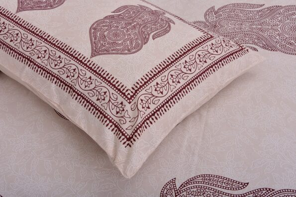 Erika Light Pink Hand Block Print Super Fine Cotton Double Bed Sheet Closeup