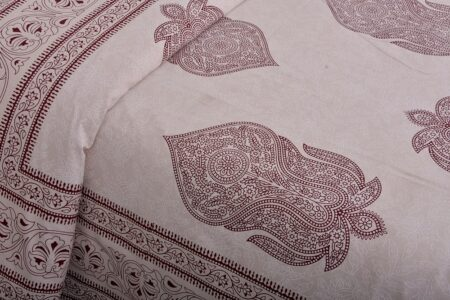 Erika Light Pink Hand Block Print Super Fine Cotton Double Bed Sheet Lookout