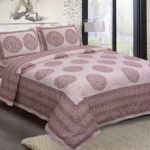 Erika Light Pink Handicraft Print Super Fine Cotton Double Bed Sheet