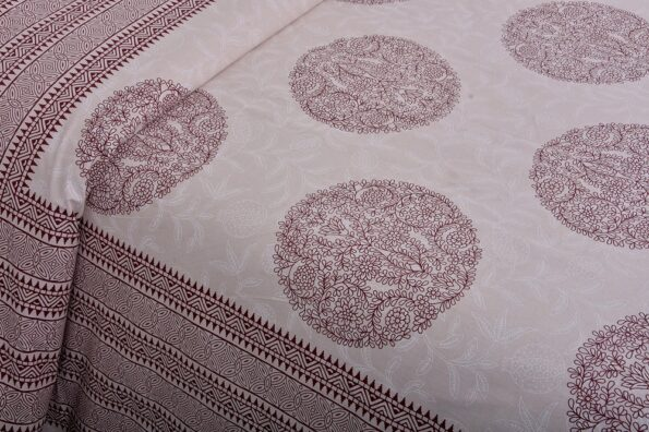 Erika Light Pink Handicraft Print Super Fine Cotton Double Bed Sheet Close up