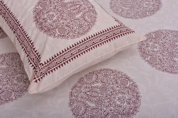 Erika Light Pink Handicraft Print Super Fine Cotton Double Bed Sheet Closeup