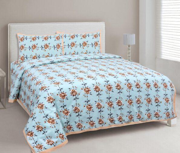 Ethnic Jaipuri Brown Flower Print Sky Color Double Bed Sheet