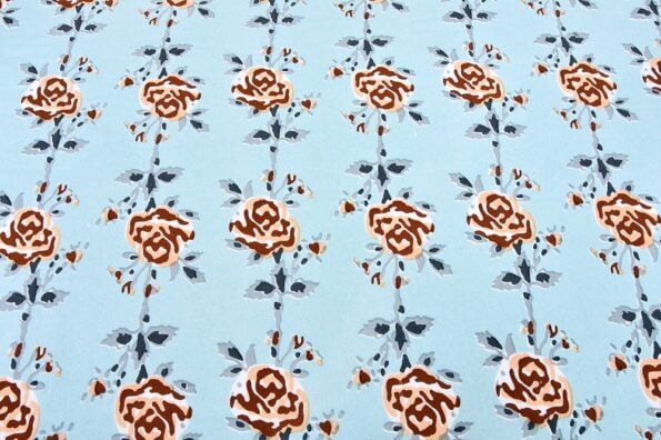 Ethnic Jaipuri Brown Flower Print Sky Color Double Bed Sheet Close up