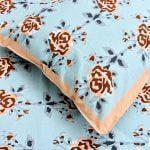 Ethnic Jaipuri Brown Flower Print Sky Color Double Bed Sheet Closeup