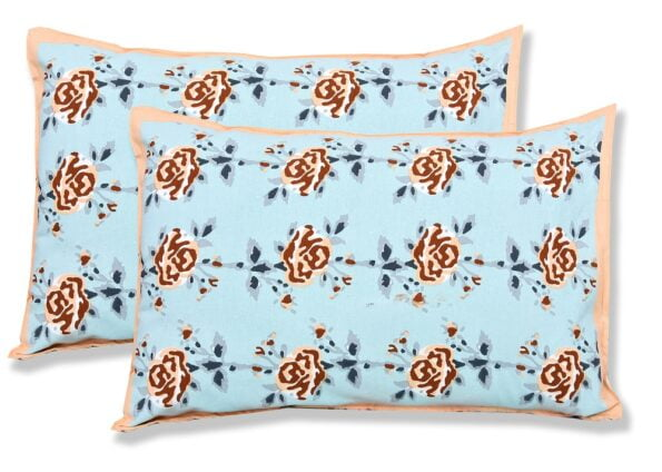 Ethnic Jaipuri Brown Flower Print Sky Color Double Bed Sheet Pillow