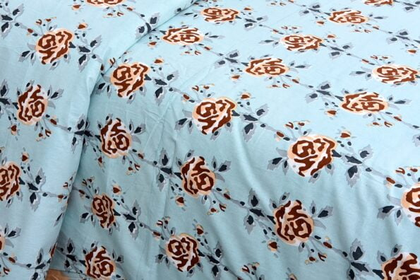 Ethnic Jaipuri Brown Flower Print Sky Color Double Bed Sheet looks