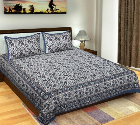 Floral Print Blue Color Double Bedsheets with 2 Pillow Covers Set