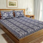 Floral Print Cotton Double Bedsheet Blue Color