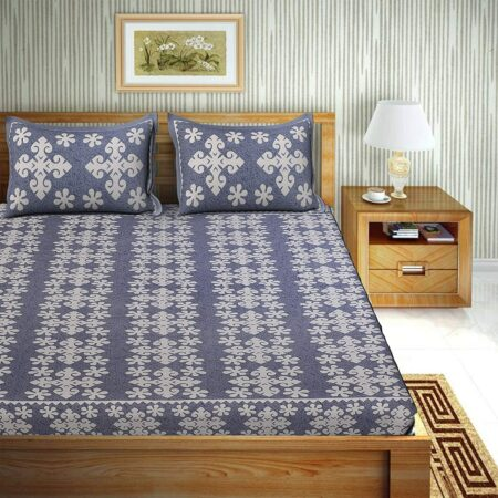Floral Print Cotton Double Bedsheet BlueColor