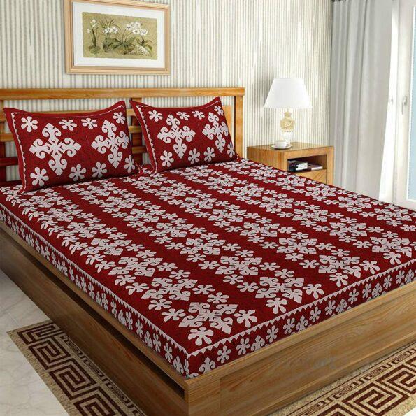 Floral Print Cotton Double Bedsheet Red Color