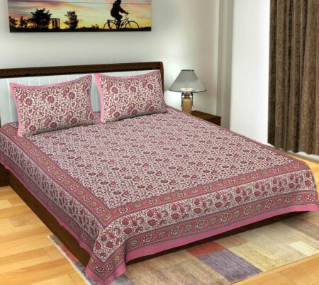 Floral Print Pink Color Double Bedsheets with 2 Pillow Covers Set