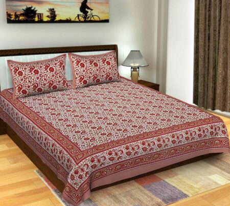 Floral Print RED Color Double Bedsheets with 2 Pillow Covers Set