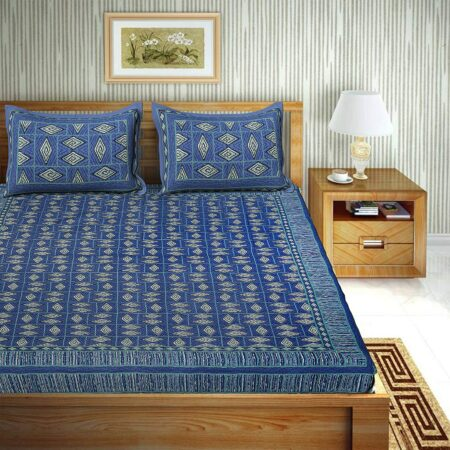 Geometric Blue colour Cotton Double Bedsheet