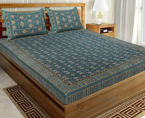 Geometric Green colour Cotton Double Bedsheet