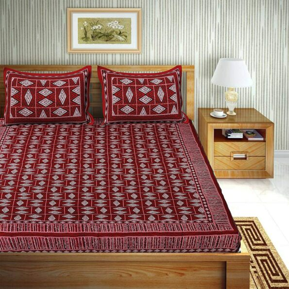 Geometric RED color Cotton Double Bedsheet