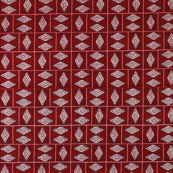 Geometric RED color Cotton Double Bedsheet Closeup