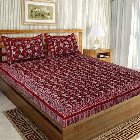 Geometric REDcolor Cotton Double Bedsheet
