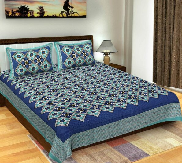 Geometric Shape Blue color Cotton Double Bedsheets with 2 Pillow Covers Set,