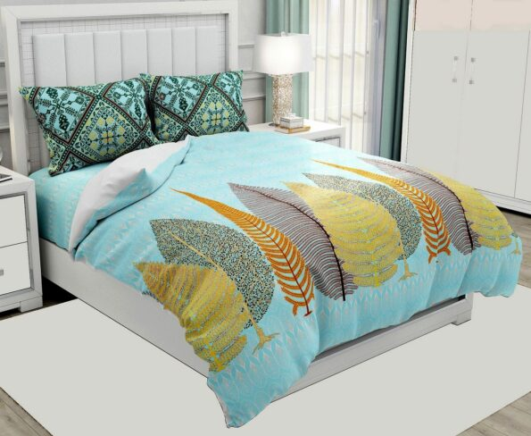 Hawaii Twill Beautiful Design King Size Double Bedsheet with 2 Pillow Cover Set