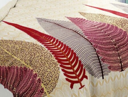 Hawaii Twill Big Leaf King Size Double Bedsheet Closeup