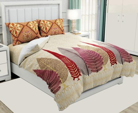 Hawaii Twill Big Leaf King Size Double Bedsheet with 2 Pillow Cover Set