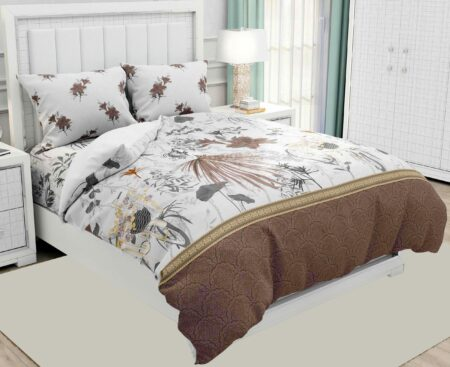 Hawaii Twill Soft Flowery Deisgn with Brown Border Super Fine Cotton Double Bed Sheet Closeup