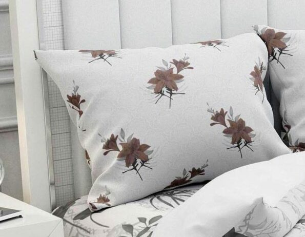 Hawaii Twill Soft Flowery Deisgn with Brown Border Super Fine Cotton Double Bed Sheet Pillow