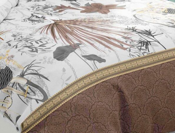 Hawaii Twill Soft Flowery Deisgn with Brown Border Super Fine Cotton Double Bed Sheet