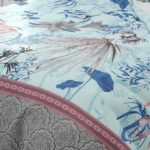 Hawaii Twill Soft Flowery Deisgn with Grey Border Super Fine Cotton Double Bed Sheet Closeup