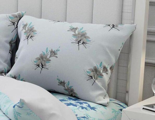 Hawaii Twill Soft Flowery Deisgn with Grey Border Super Fine Cotton Double Bed Sheet Pillow