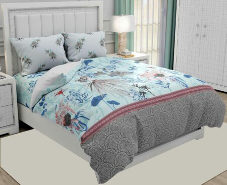 Hawaii Twill Soft Flowery Deisgn with Grey Border Super Fine Cotton Double Bed Sheet