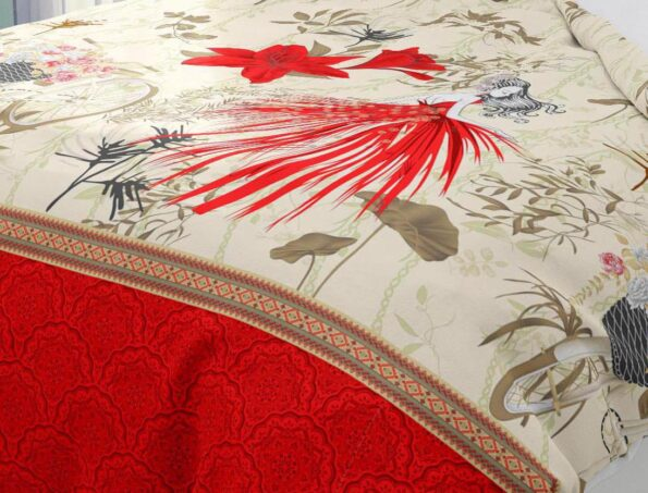 Hawaii Twill Soft Flowery Deisgn with Red Border Super Fine Cotton Double Bed Sheet Closeup