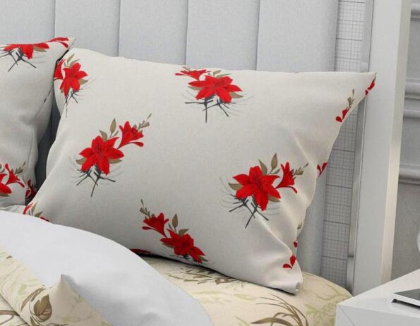 Hawaii Twill Soft Flowery Deisgn with Red Border Super Fine Cotton Double Bed Sheet Pillow