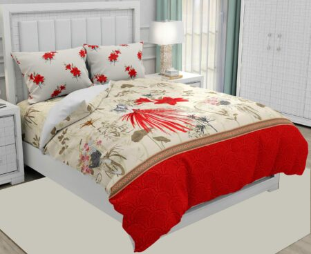 Hawaii Twill Soft Flowery Deisgn with Red Border Super Fine Cotton Double Bed Sheet