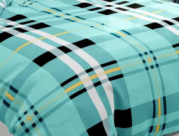 Hawaii Twill Soft Green Checks Deisgn Super Fine Cotton Double Bed Sheet Closeup