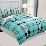 Hawaii Twill Soft Green Checks Deisgn Super Fine Cotton Double Bed Sheet