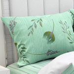 Hawaii Twill Soft Green Color Floral Deisgn Super Fine Cotton Double Bed Sheet Pillow