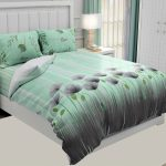 Hawaii Twill Soft Green Color Floral Deisgn Super Fine Cotton Double Bed Sheet