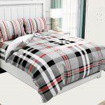 Hawaii Twill Soft Grey Checks Deisgn Super Fine Cotton Double Bed Sheet