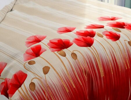Hawaii Twill Soft Red Color Floral Deisgn Super Fine Cotton Double Bed Sheet Closeup