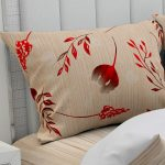 Hawaii Twill Soft Red Color Floral Deisgn Super Fine Cotton Double Bed Sheet Pillow