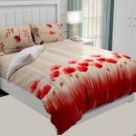 Hawaii Twill Soft Red Color Floral Deisgn Super Fine Cotton Double Bed Sheet