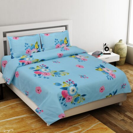 Heaven Bliss Premium Poly Cotton Double Bedsheet with 2 Pillow Cover Set